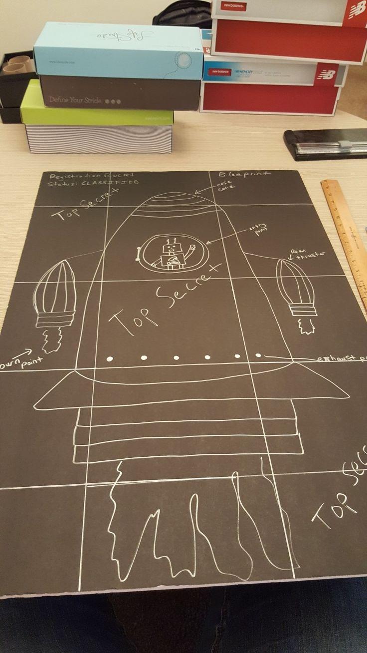 Maker Fun Factory rocket blueprints. black posterboard and silver sharpie
