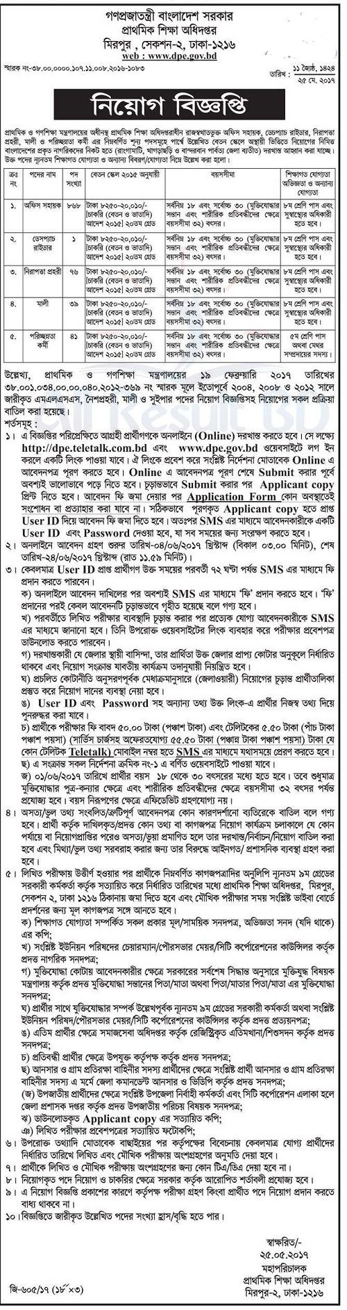 DPE Bangladesh Job Circular 2017, DPE Job Circular 2017, DPE Job Circular, Directorate of Primary Education Job Circular 2017, Directorate of Primary Education Job Circular,