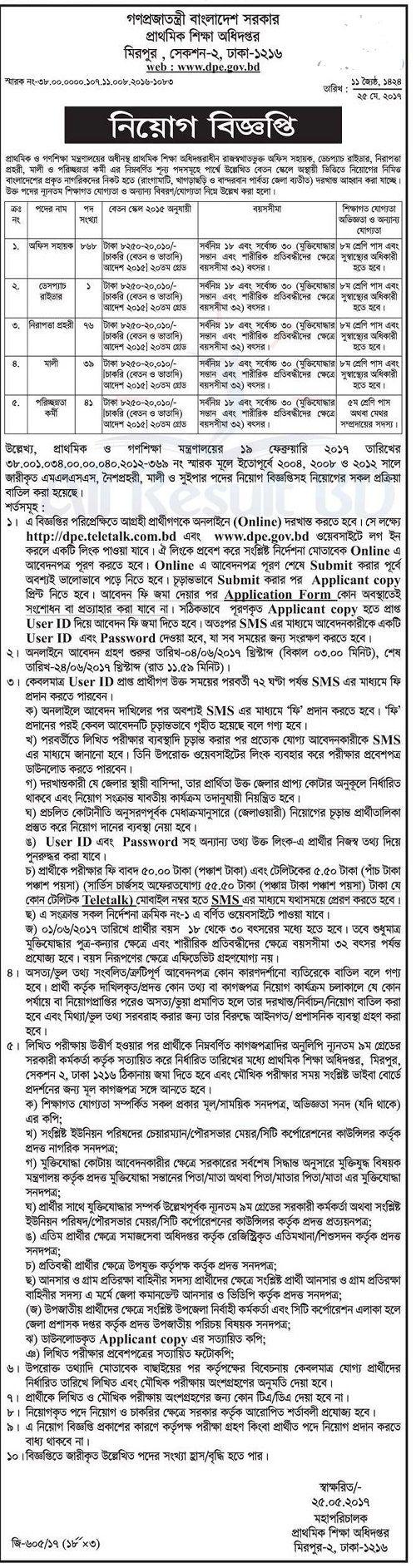 DPE Bangladesh Job Circular 2017, DPE Job Circular 2017, DPE Job Circular, Directorate of Primary Education Job Circular 2017, Directorate of Primary Education Job Circular,