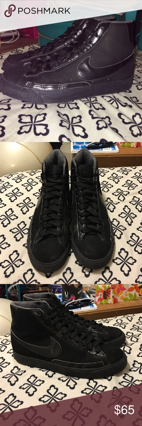 Black Nike shoes Women's size 7.5 suede all black Nike shoes 8/10 condition Nike Shoes Sneakers
