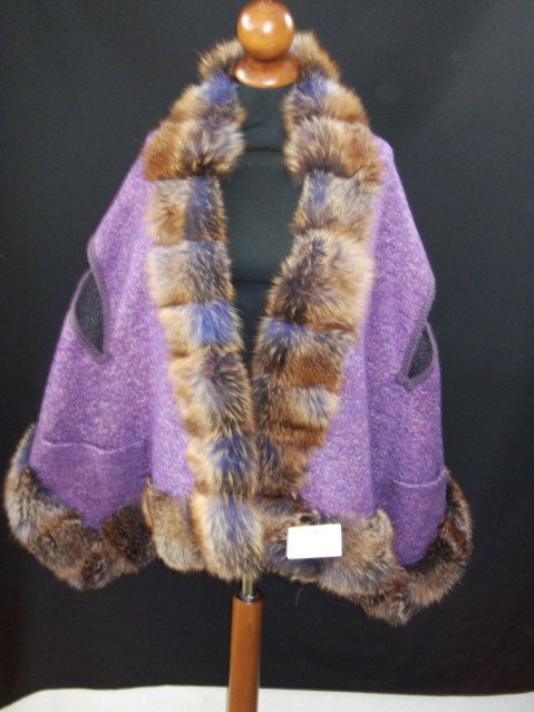 Beautiful Cape in Pure Wool   with edge of   by ItalianFursDesign, €350.00