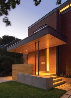 flat roof front porch, modern - Google Search