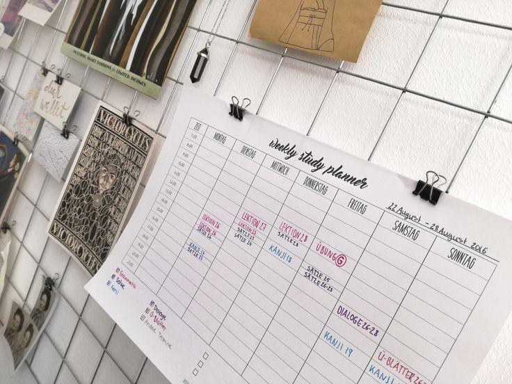 Weekly Study Planner Printable. Lernplan erstellen | Besser Lernen ohne Prokrastination und Druck. Download auf www.dearlife.de