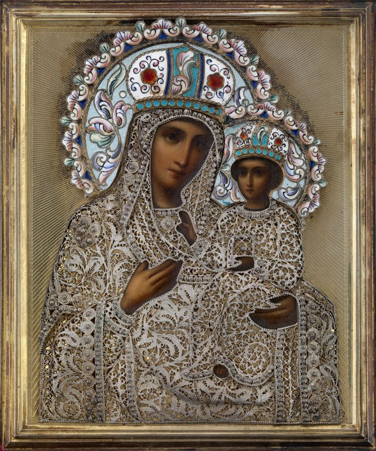 A 19th century Russian copy of the Mother of God of Tikhvin, one of the most revered images of Mary in Orthodox Christendom. The original is said to be the work of St. Luke the Evangelist.