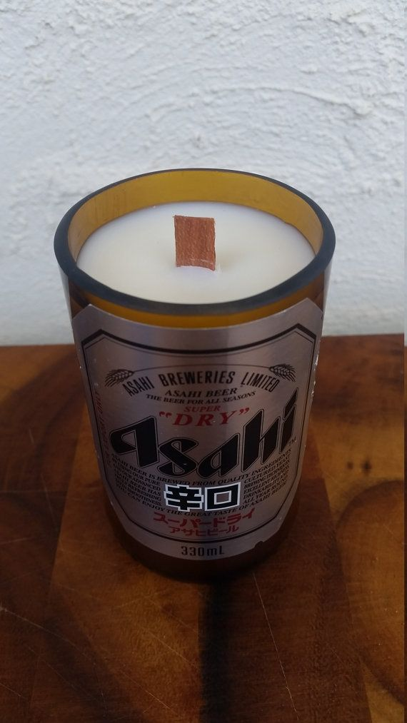 Hey, I found this really awesome Etsy listing at https://www.etsy.com/au/listing/267760361/asahi-beer-bottle-soy-candle-with-wood
