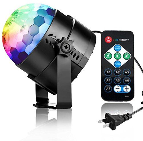 Disco Lights Disco Ball Party Lights COIDEA 3W 7 Colors Sound Activated Strobe Light with Remote for Kids Toys Birthday Gifts Karaoke Club Bar Wedding Holiday Dance Night