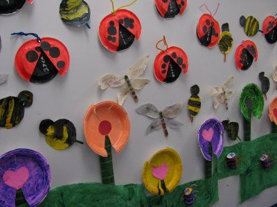 Paper plates provide the backbone for spring mural in Preschool. (From article on Fine Arts + Fine Motor: continuing series)