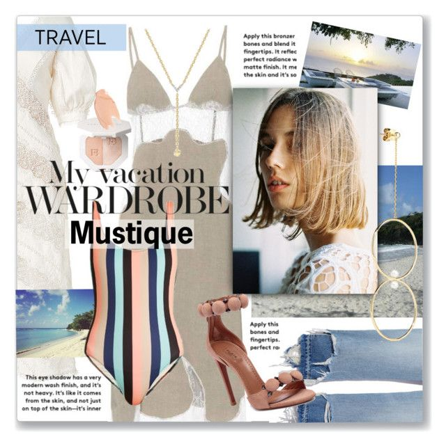 """""""My Vacation Wardrobe:  Mustique"""" by jzanzig ❤ liked on Polyvore featuring Off-White, Zimmermann, Sies Marjan, Solid & Striped, Alaïa, Anissa Kermiche, Too Faced Cosmetics, outfitsfortravel and Mustique"""