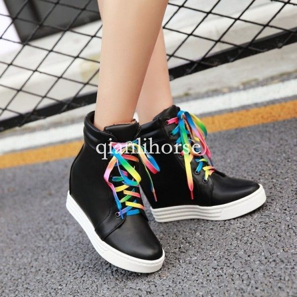 Women High Heel Platform Wedge Hollow Sneaker Sport Ankle Boots Creepers Zsell
