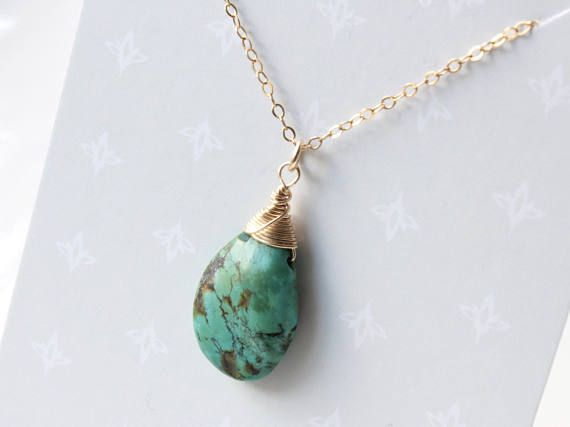 Natural Turquoise Necklace Goldfilled wire wrap blue