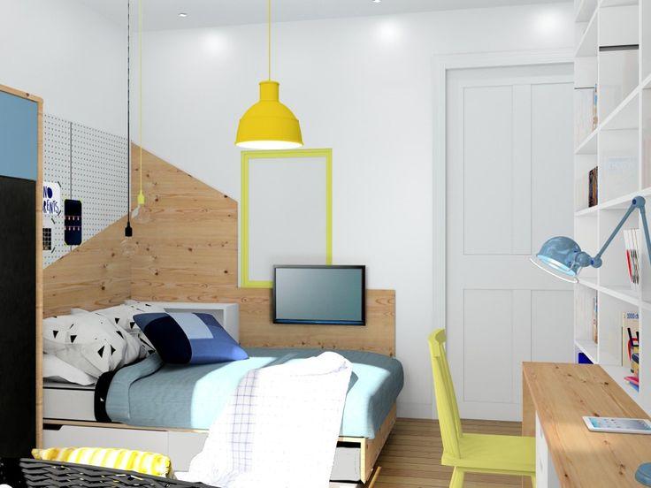 Chambre garçon, mobilier Ikea, image virtuelle 3d