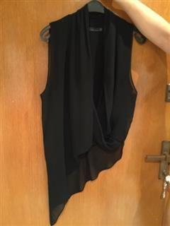 %53 indirimli Zara Üst Zara Siyah Ipek Sifon Asimetruk Kesim Cok Sik Bluz | Modacruz