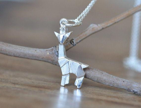Sterling Silver Origami Giraffe Necklace, Giraffe Jewelry, Silver Giraffe…