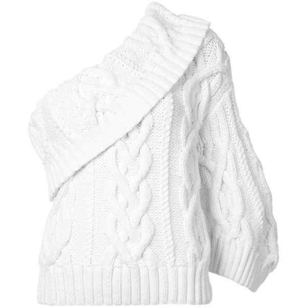 Rosie Assoulin One Shoulder Knit Sweater found on Polyvore featuring tops, sweaters, kirna zabete, kzloves, the best of fall, white long sleeve sweater, knit sweater, long sleeve knit sweater, long sleeve knit tops and knit top