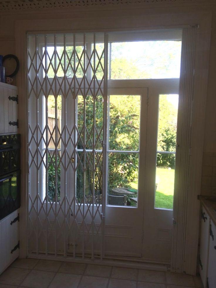 White Back Door Grille Window Security Bar