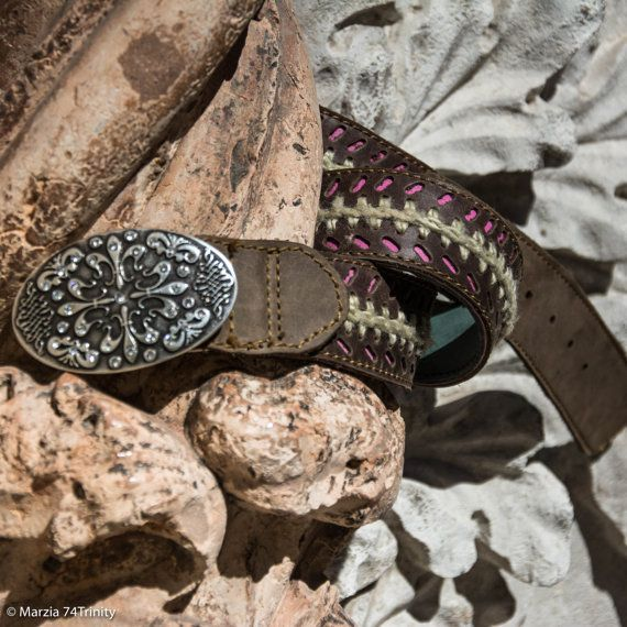 Cintura in pelle  cintura Donna con intarsio fuxia di AlePiller