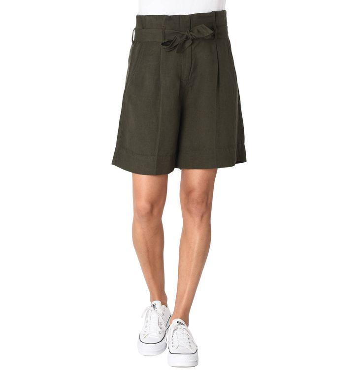 Shorts, Binde-Gürtel, Eingrifftaschen, Leinen-Anteil