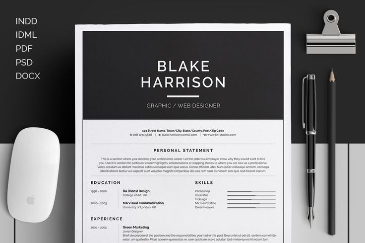 Resume/CV - Blake by bilmaw creative on Creative Market