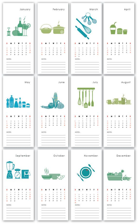 Printable Wall Calendar 2014 Kitchen  blue green by dezigndaze, $8.00