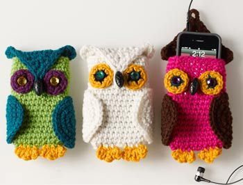 Crocheted owl Cell phone cozy