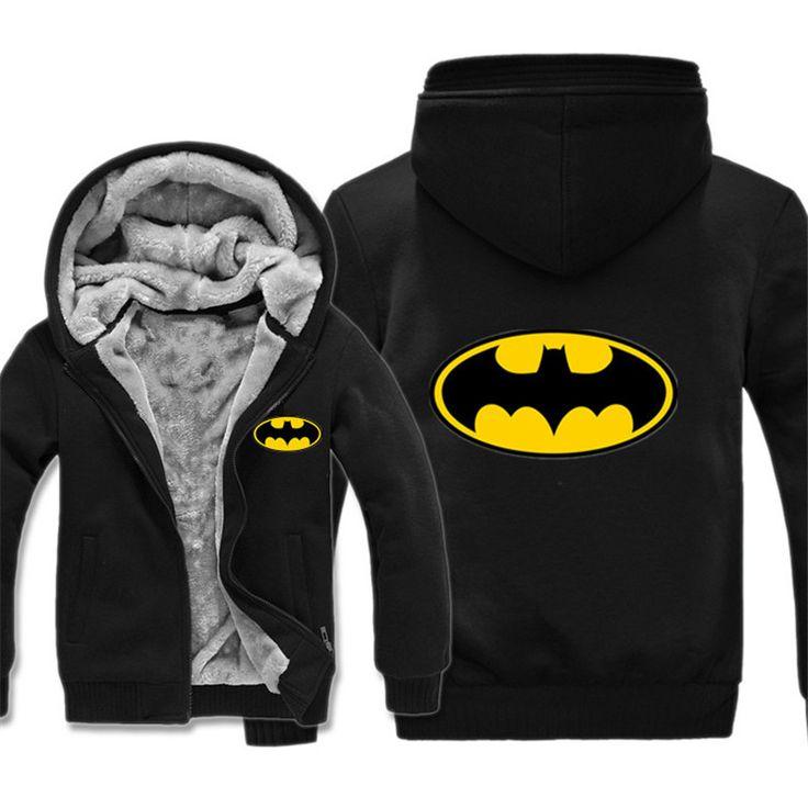 Batman Hoodies Warm Liner Jacket Thick Sweatshirts
