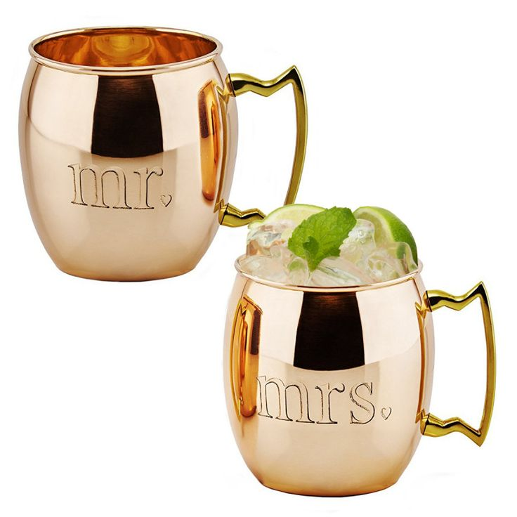 Set of 2 Engraved Copper Moscow Mule Mugs $19!