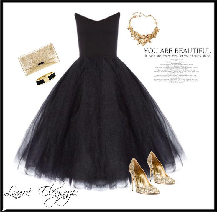 Black Tulle Dress & Gold