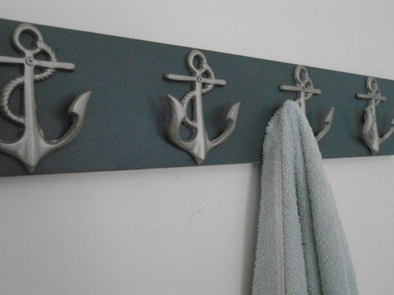 Towel Rack 4 Anchor Hooks On Distressed Wood Available In