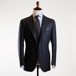 Blue flannel single breasted suit, 10oz wool