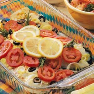 Mediterranean Baked Fish...SO good. One of the BEST if not THE VERY BEST fish recipe I've had. Not very difficult to make. Used fresh basil and tomatoes from our garden...a definite plus!