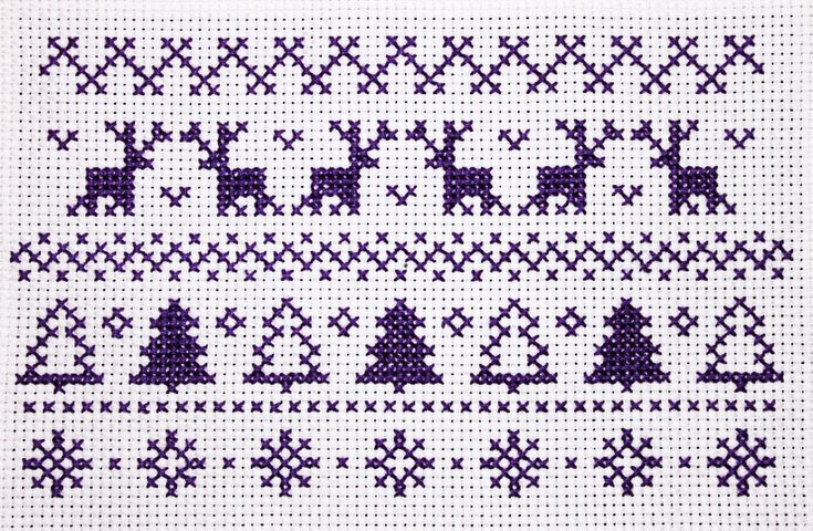 Christmas pattern cross stitch- Purple and White. I drew out a design inspired by Winter or Christmas patterned knitted jumpers etc.