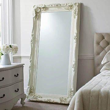 Carved Floor Standing Mirror - Cream - Oversized Leaner | Primrose & Plum