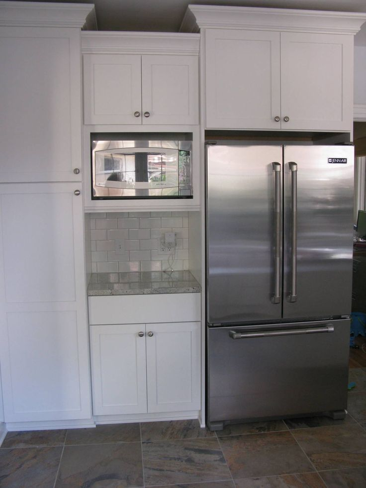 Built in microwave cabinet our fridge and microwave are for Kitchen built in cabinets
