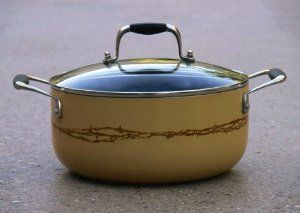 Barbwire 4.5 Quart Stockpot by Cowboy Living. $39.95. Your stovetop never looked so western with this 4.5 quart non-stick anodized aluminum stock pot with glass lid and silicone enhanced handles. Our signature barbwire design is kiln baked into buttercream enamel-coating. Store it in plain view on top of our Rustic Iron Pot Rack (item 4335).