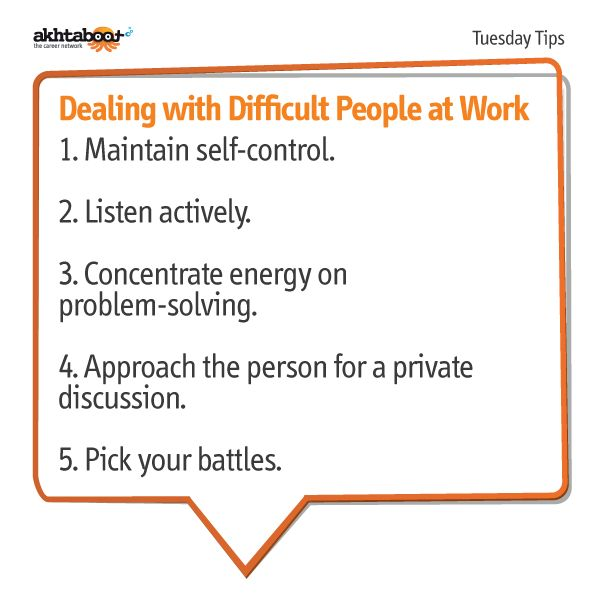 Difficult people do exist at work. Dealing with difficult coworkers, bosses, customers, clients, and friends is an art worth perfecting. It's challenging, yet rewarding. Akhtaboot helps you develop the skills you need to deal with difficult people at work with the following tips.
