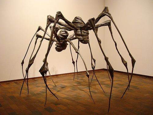 "louise bourgeois - Saw this sculpture in Vienna...walked right underneath it.  She named this piece after her own Mother who conserved Tapestries with weaving, like a spider weaves a web. Can anyone say ""Mother issues!"""