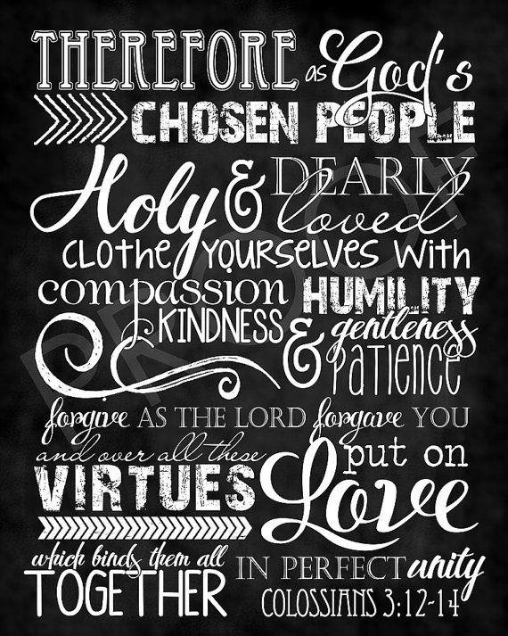Scripture Art - Colossians 3:12-14 ~ Chalkboard Style