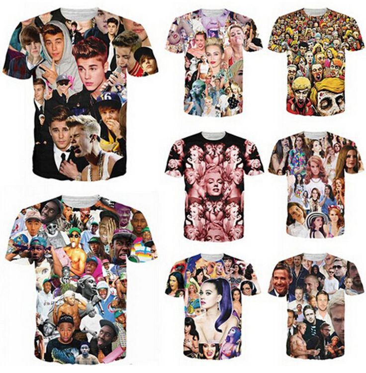 T shirt Justin bieber/Miley cyrus/tyler the creator/Lana del rey/resident evil zombie 3D print T-shirt size S-5XL Drop Shipping #Affiliate