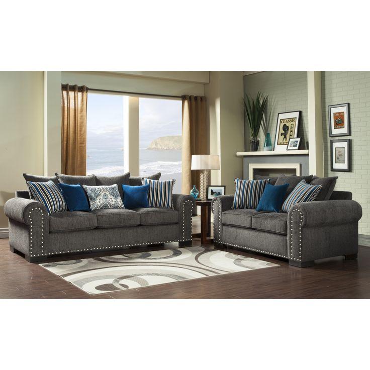 Furniture Of America Ivy Grey Blue Modern 2 Piece Sofa Love Set By Furniture  Of America