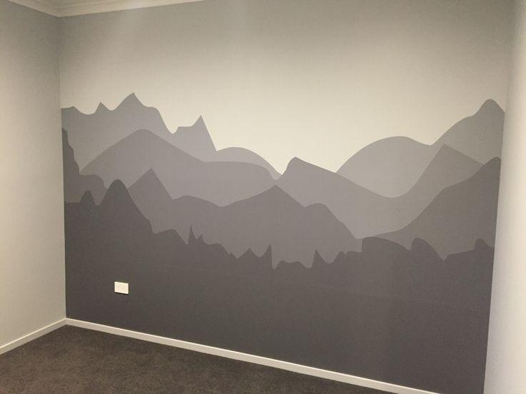 Mountain wall in our nursery!! Grey shaded mountain wall in boys nursery.