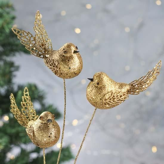 Gold Glitter Artificial Birds Pick - Floral Picks and Leaves - Bridal Florals - Wedding Supplies-