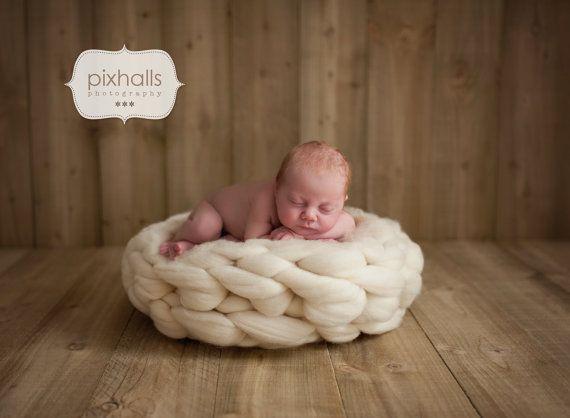 Newborn nest prop braided creamnest posing bucket prop cream nest white posing nest wool prop by felfur heavy weight