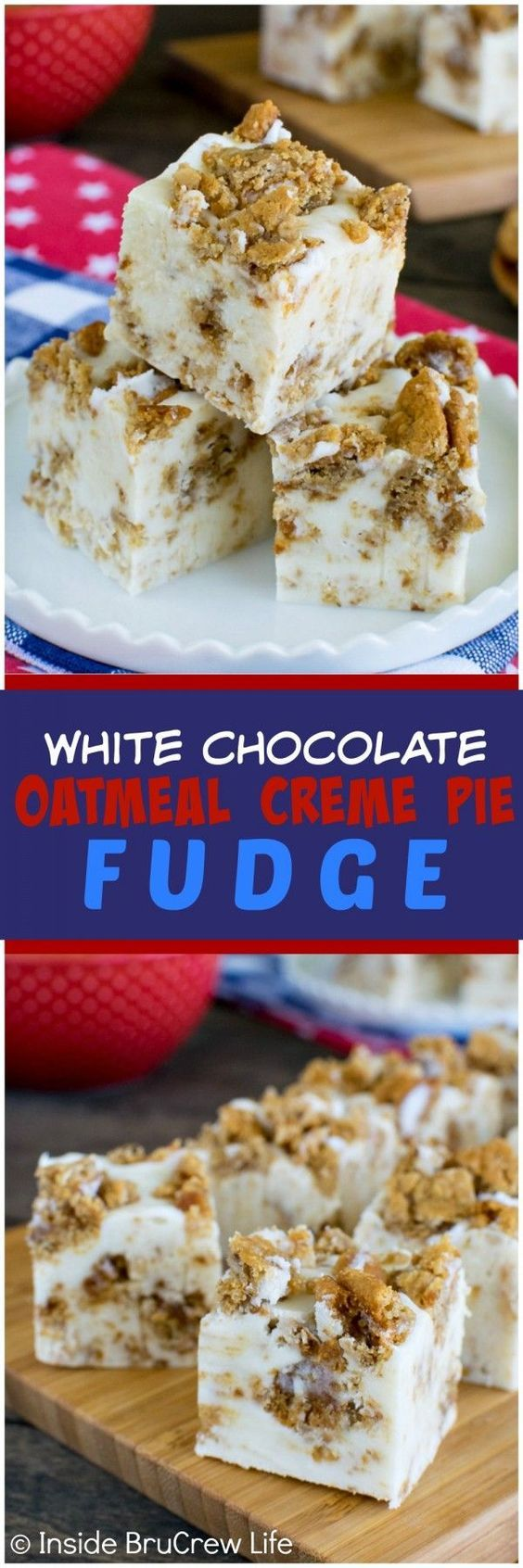 White Chocolate Oatmeal Creme Pie Fudge - this easy 4 ingredient fudge is loaded with soft oatmeal cookies and marshmallow.  Awesome no bake dessert recipe!