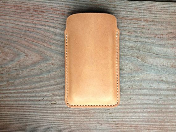 Leather iPhone Case with Natural/Nude Color // Handmade with Hand-Stitching on Etsy, $35.00