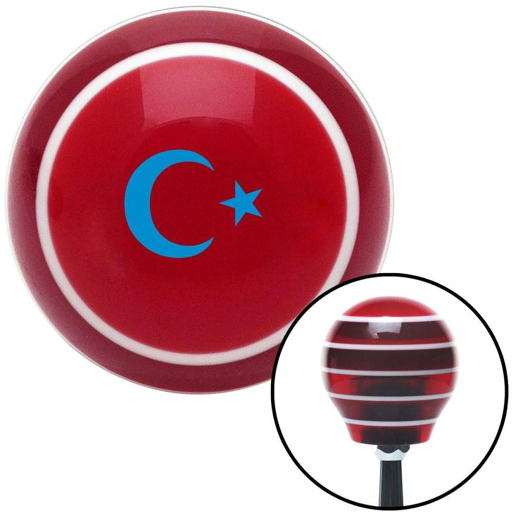 Blue Symbol of Islam Red Stripe Shift Knob with M16 x 15 Insert