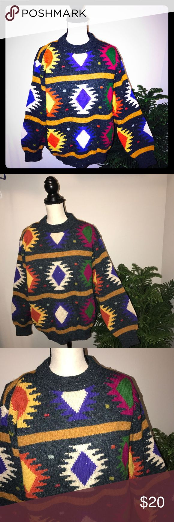 United Colors of Benetton Shetland wool sweater United Colors of Benetton Shetland wool sweater. Excellent vintage condition and perfect colors for the holidays. Very festive and fun sweater. Very warm and made in Italy. United Colors Of Benetton Sweaters