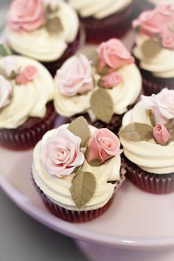 Rose Cupcakes  - Picture Colors:  Pink, Green, White, Lavender Purple, Brown