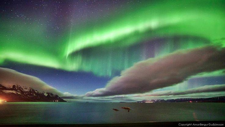 Aurora Borealis over old shipwreck