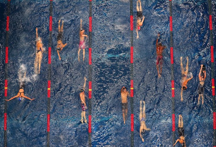 Le foto di sport più belle del 2017 - Il Post Il riscaldamento degli atleti durante i Phillips 66 National Championships & World Championship Trials all'Indiana University Natatorium di Indianapolis, il 28 giugno  (Tom Pennington/Getty Images)