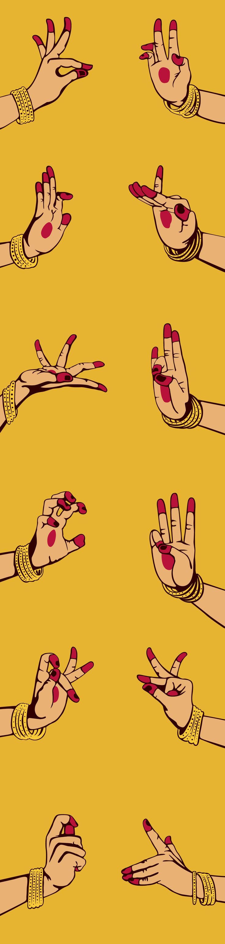 Illustration for LivingArt 2012 diary, featuring mudras. The mudras are symbolic hand gestures in the classical Indian dance of Bharat Natyam.